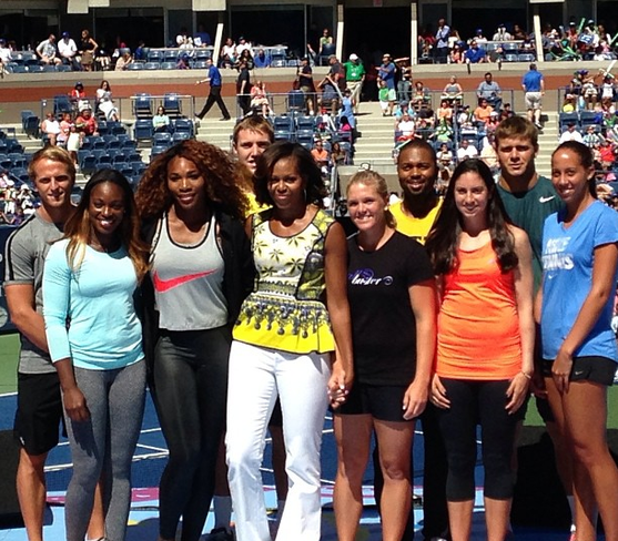 Michelle Obama spends time with youth at the US Open